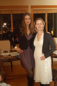 Agnete on the left. Me pregnant and on the right.