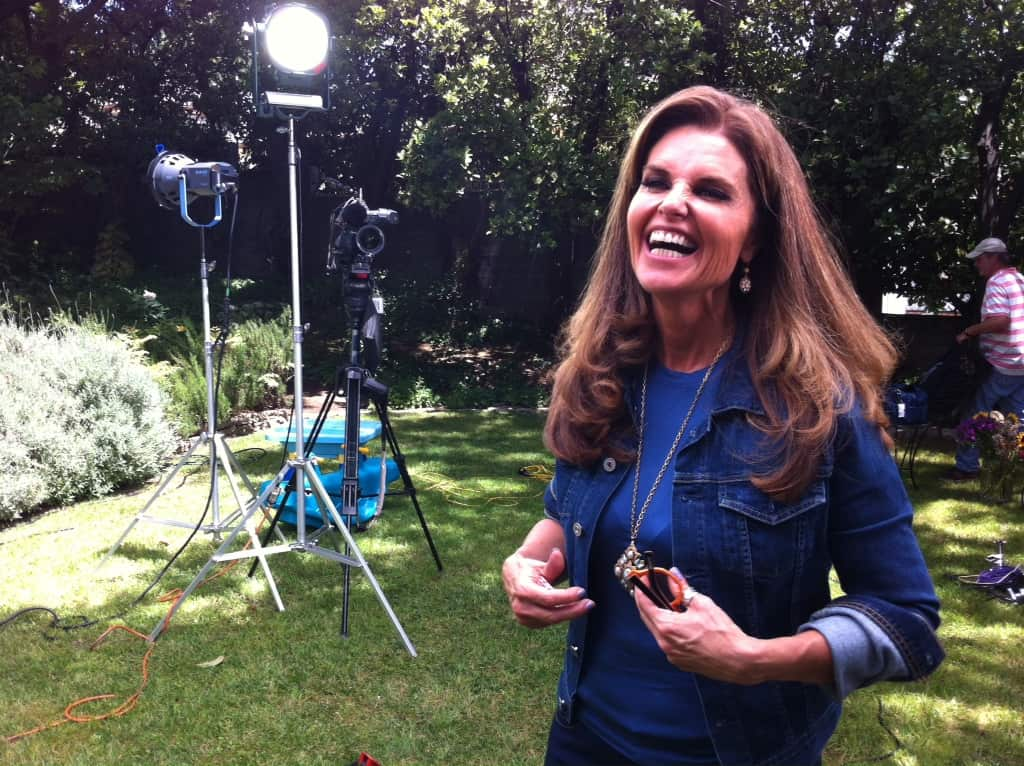 Maria Shriver in the backyard