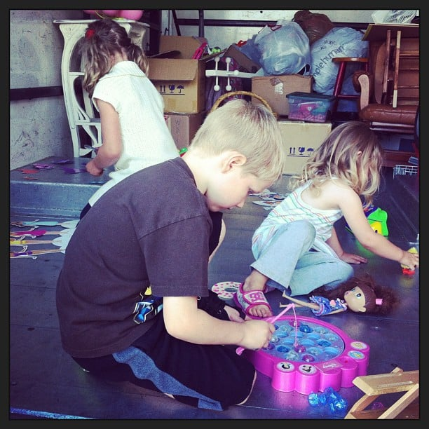 The kids were taking donations...but playing with 'donated' toys was more fun.