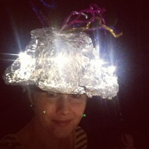 My space themed homemade hat from tin foil, kids art stuff and some lights from Jo-Ann's Fabrics.  So Palm Springs.